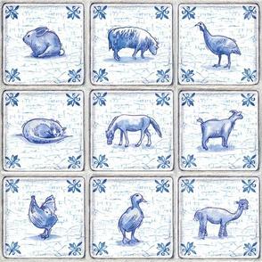 Dutch Farm Tiles with Crackle Finish, Royal Blue, Farm Animals, Sheep, Goat, Horse, Alpaca