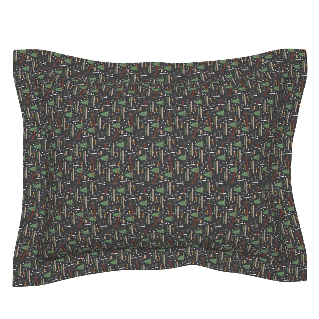 Sebright Pillow Sham featuring Station Wagon Christmas - Extra Small Scale by papercanoefabricshop