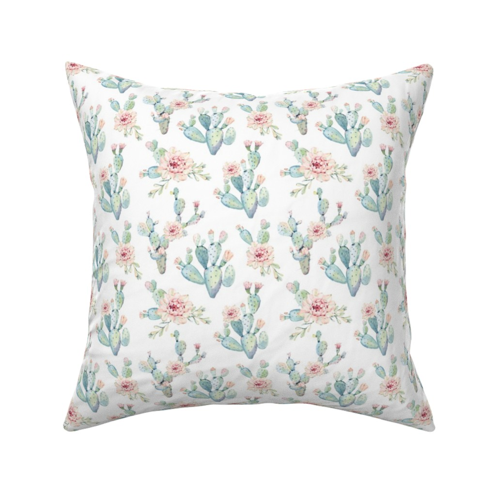 Catalan Throw Pillow featuring Watercolor Cactus // Medium Scale by hipkiddesigns