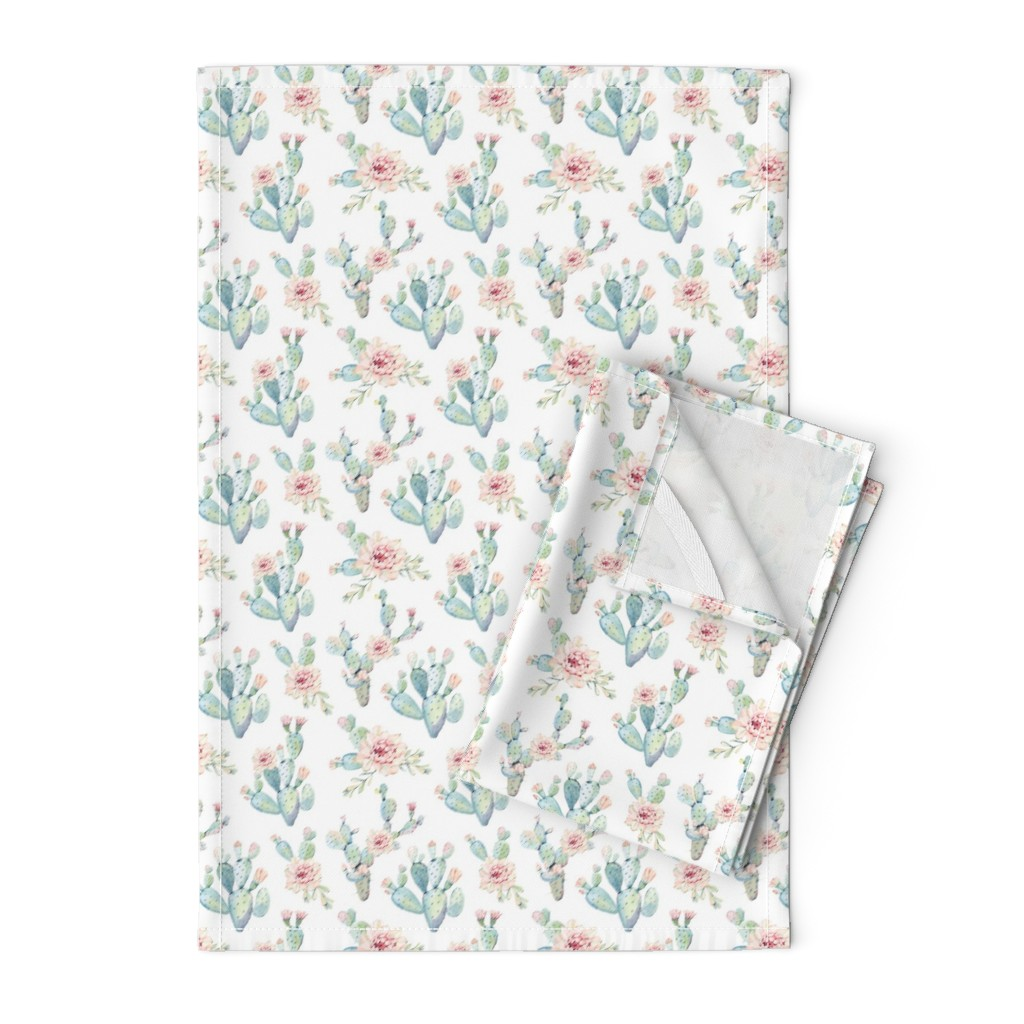 Orpington Tea Towels featuring Watercolor Cactus // Medium Scale by hipkiddesigns