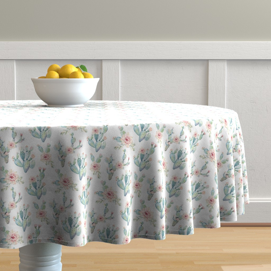 Malay Round Tablecloth featuring Watercolor Cactus // Medium Scale by hipkiddesigns