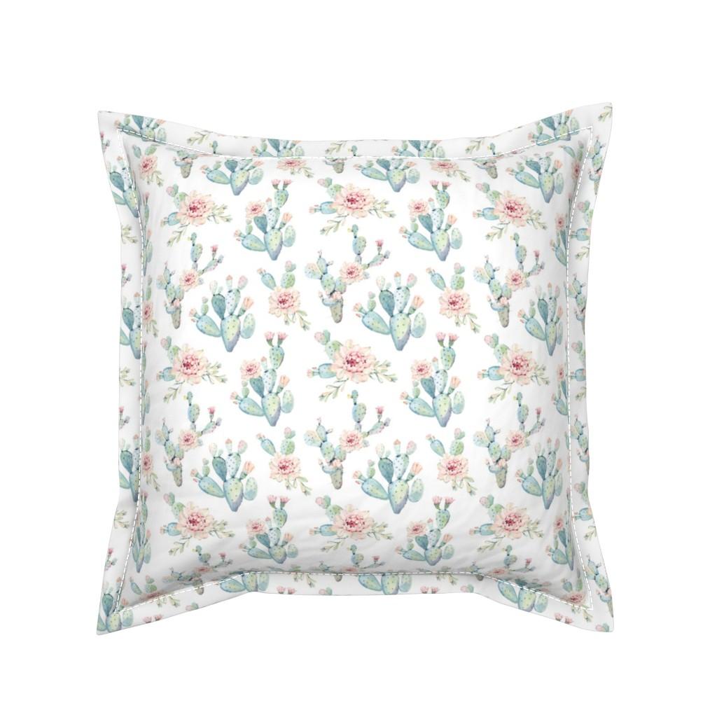 Serama Throw Pillow featuring Watercolor Cactus // Medium Scale by hipkiddesigns