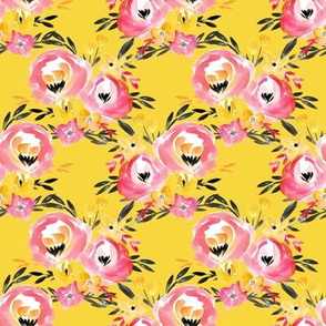 Yellow Pink Bright Watercolor Summer Floral