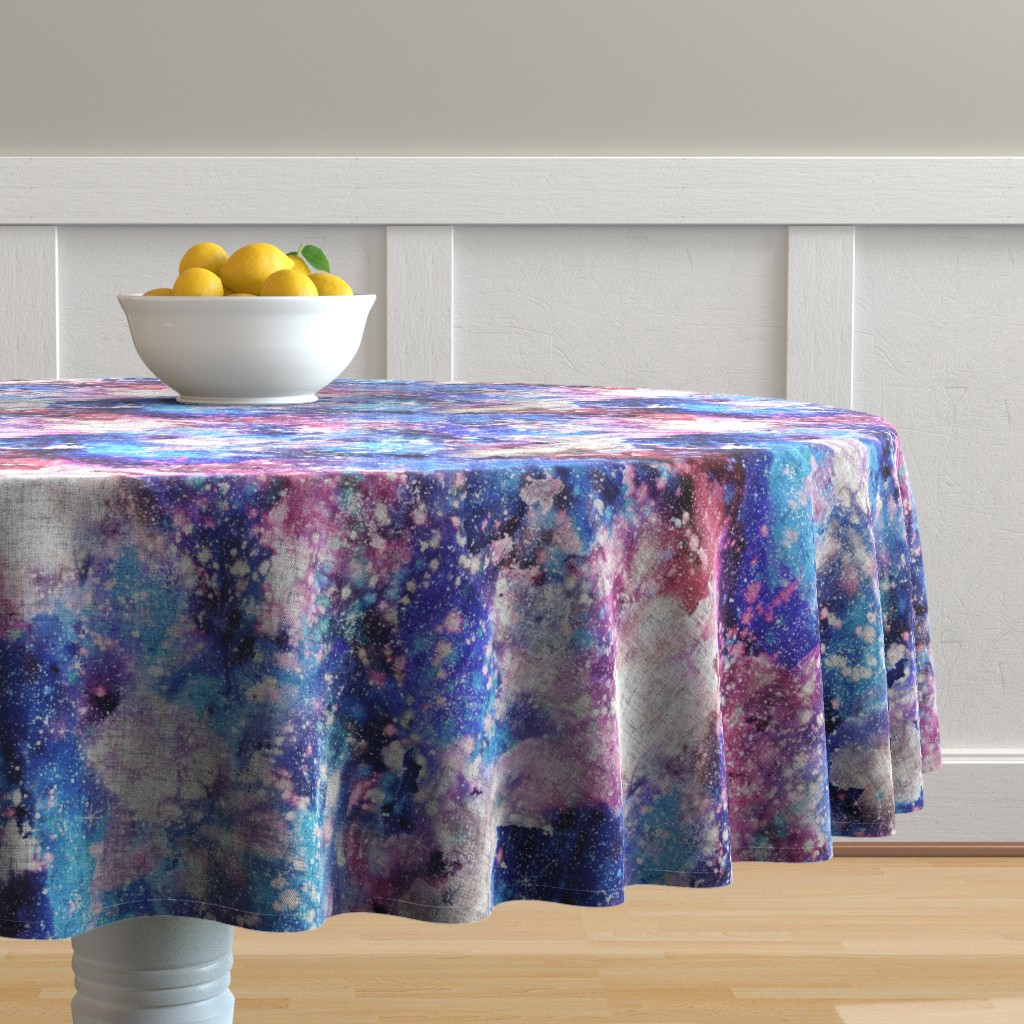 Malay Round Tablecloth featuring Galaxy space waterolor with woven structure - purple and blue by rebecca_reck_art