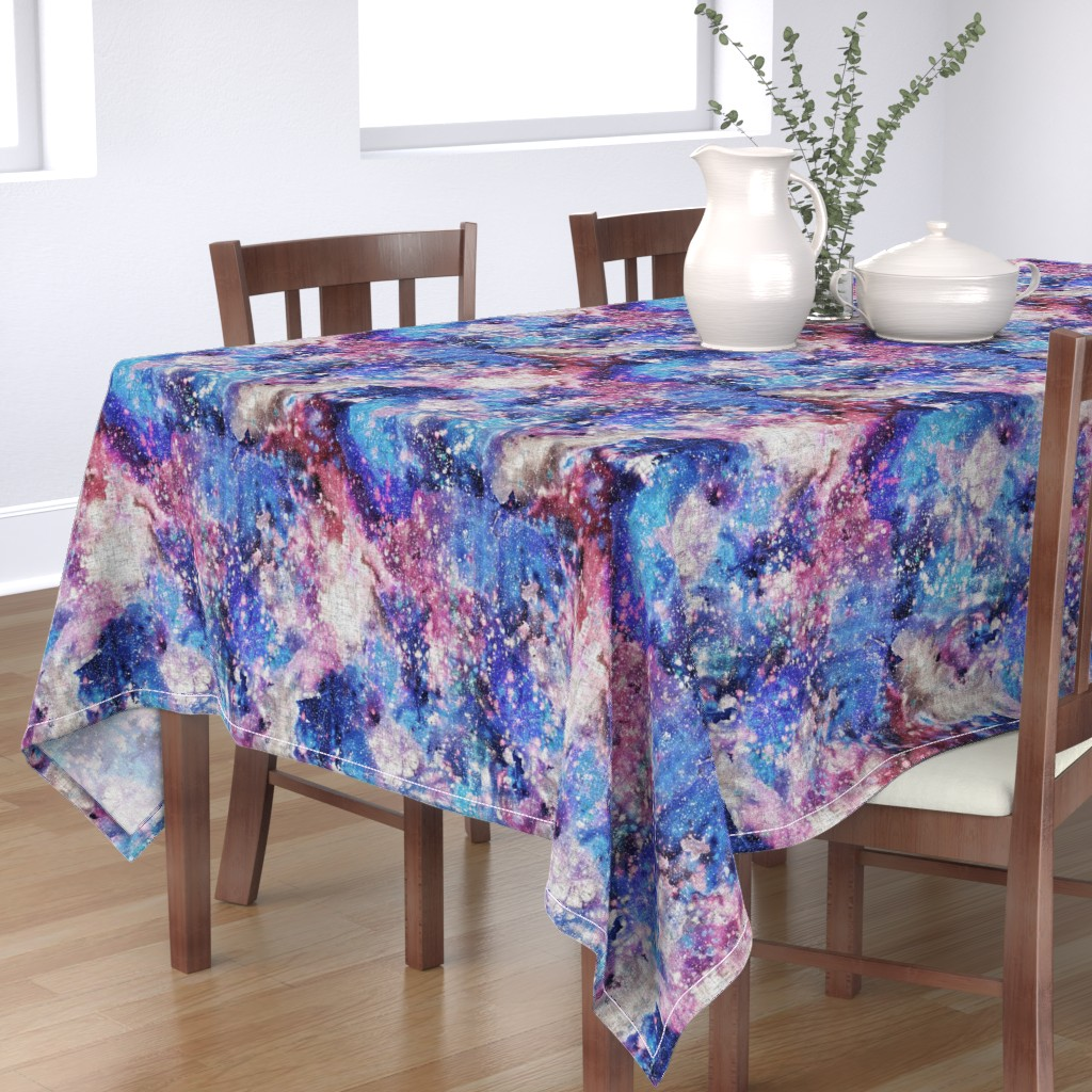 Bantam Rectangular Tablecloth featuring Galaxy space waterolor with woven structure - purple and blue by rebecca_reck_art