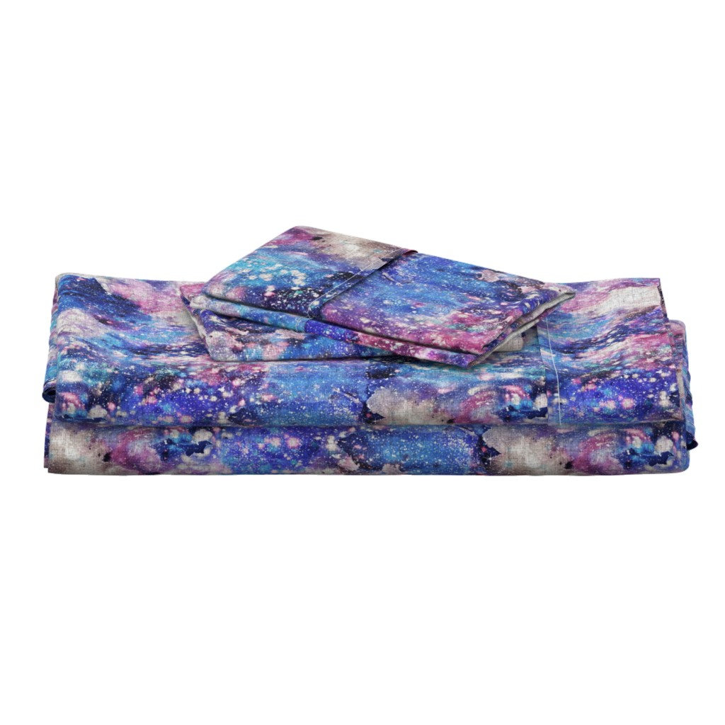 Langshan Full Bed Set featuring Galaxy space waterolor with woven structure - purple and blue by rebecca_reck_art