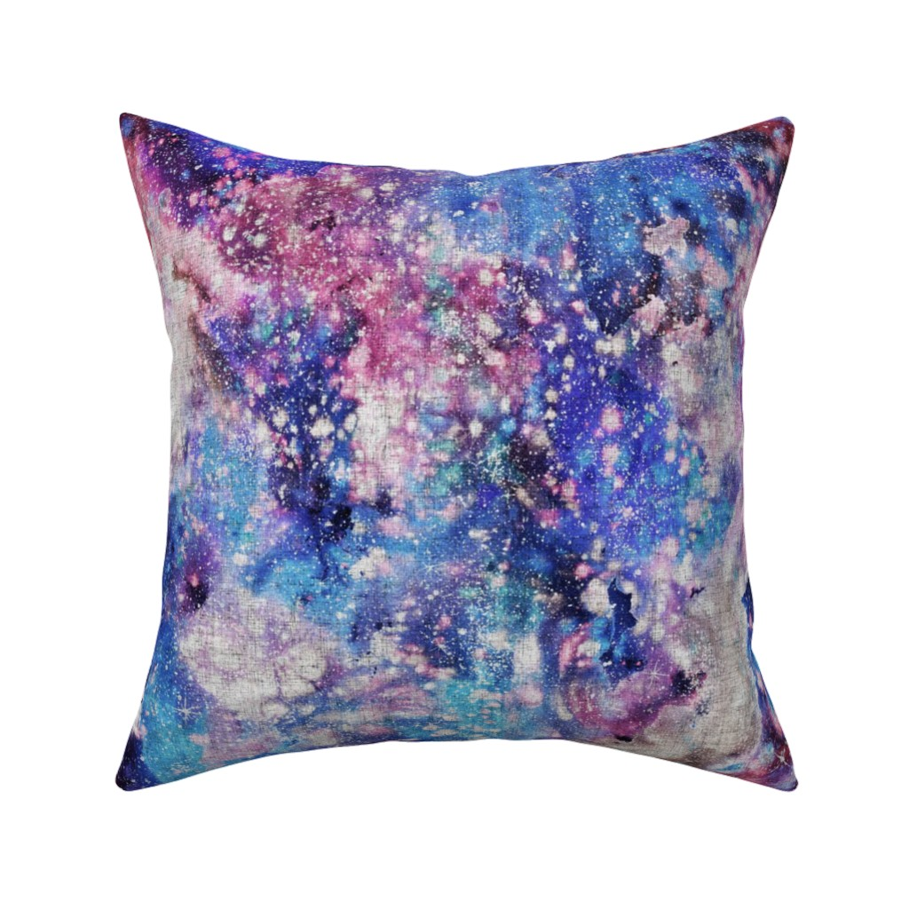 Catalan Throw Pillow featuring Galaxy space waterolor with woven structure - purple and blue by rebecca_reck_art