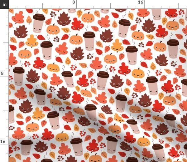 9f22ecbe7630a Kawaii autumn leaves and pumpkin spice latte love illustration pattern