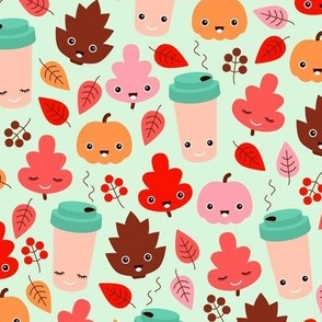 Kawaii autumn leaves and pumpkin spice latte love illustration pattern girls pink