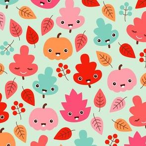 Kawaii breeze autumn leaves and fall pumpkin and berries illustration design girls