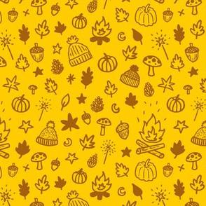 Autumn Doodles - yellow and burnt orange