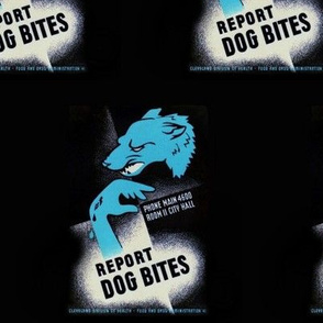 Report Dog Bites (WPA Poster in Blue)