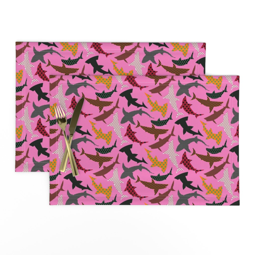 Lamona Cloth Placemats featuring Polka Dot Sharks on Pink by ravenous