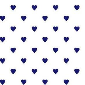 Midnight Blue Hearts on White