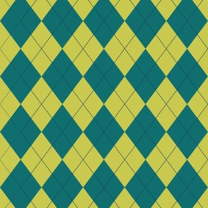 Argyle (teal lime) - 1.5in