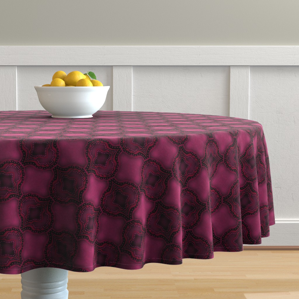 Malay Round Tablecloth featuring Pink Paisley Inspired by themadcraftduckie