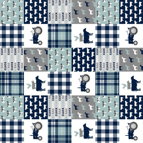 "(3"" small scale) farm life - plaid wholecloth patchwork - navy and dusty blue (90)"