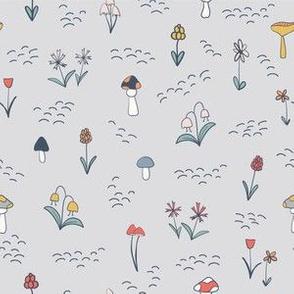 Mushrooms and Flowers - Gray