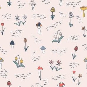 Mushrooms and Flowers - Pink