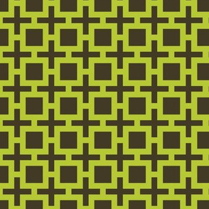Geometric Pattern: Square + Cross: Green