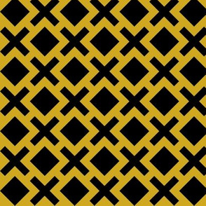 Geometric Pattern: Diamond Cross: Yellow/Black