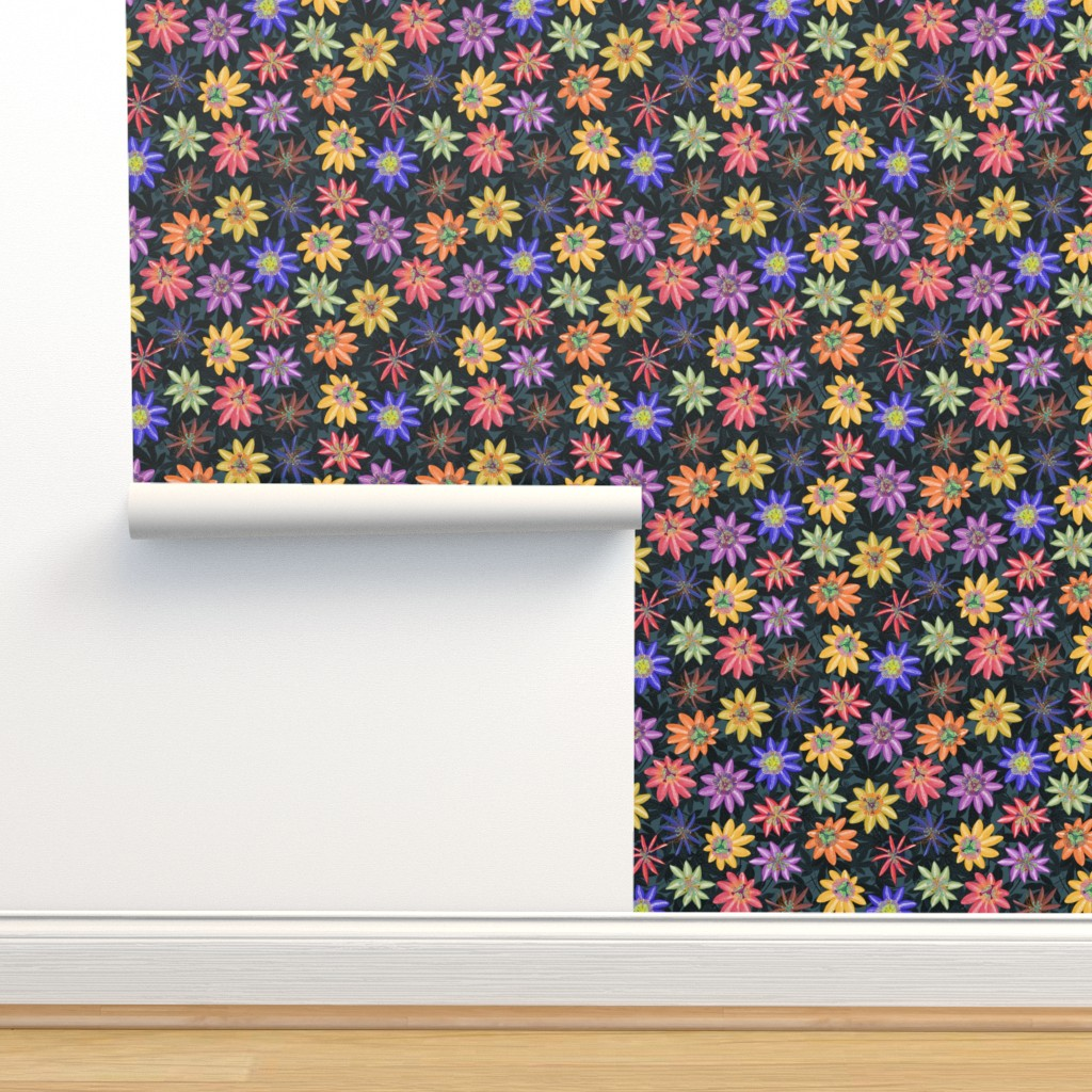 Isobar Durable Wallpaper featuring Pattern #77 Passion Flowers (on dark background) L by irenesilvino