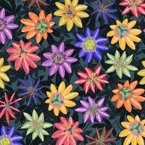Pattern #77 Passion Flowers (on dark background) L