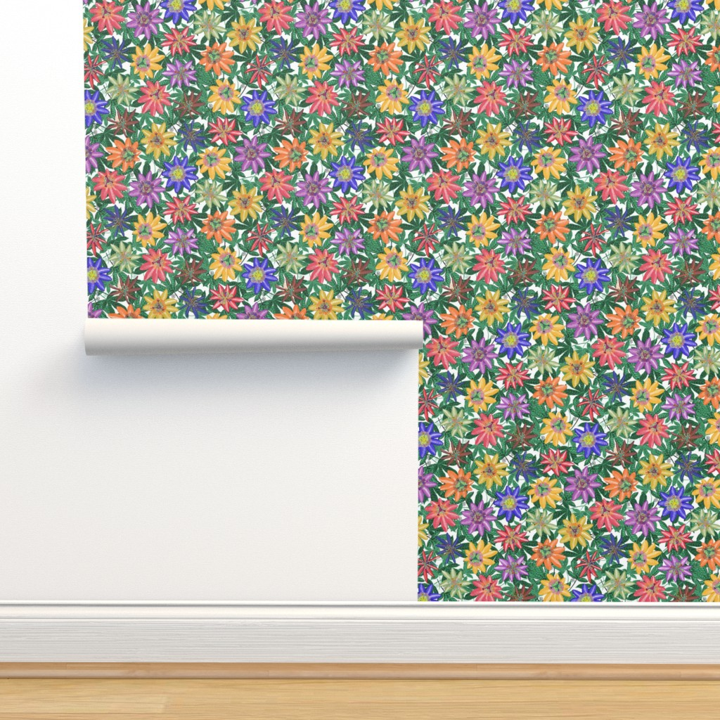 Isobar Durable Wallpaper featuring Pattern #78 - Passion Flowers (on green leaves) L by irenesilvino
