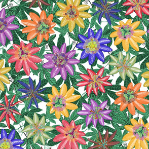 Pattern #78 - Passion Flowers (on green leaves) L