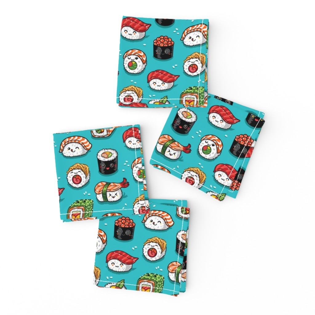 Frizzle Cocktail Napkins featuring Cute kawaii sushi small size by penguinhouse