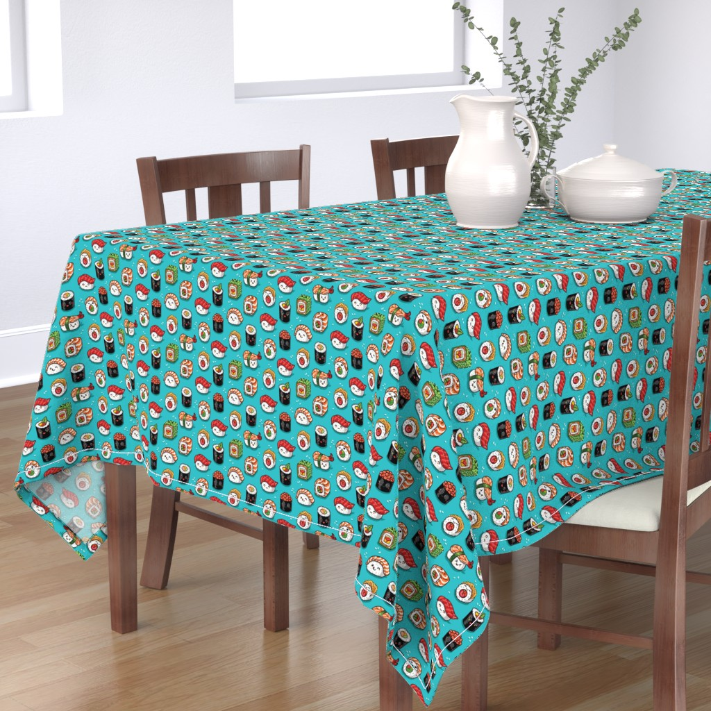 Bantam Rectangular Tablecloth featuring Cute kawaii sushi small size by penguinhouse
