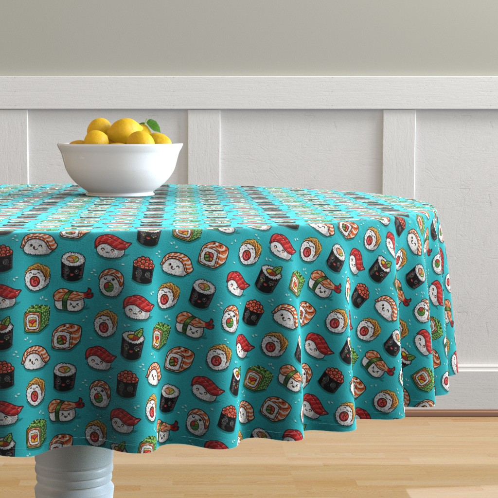 Malay Round Tablecloth featuring Cute kawaii sushi small size by penguinhouse