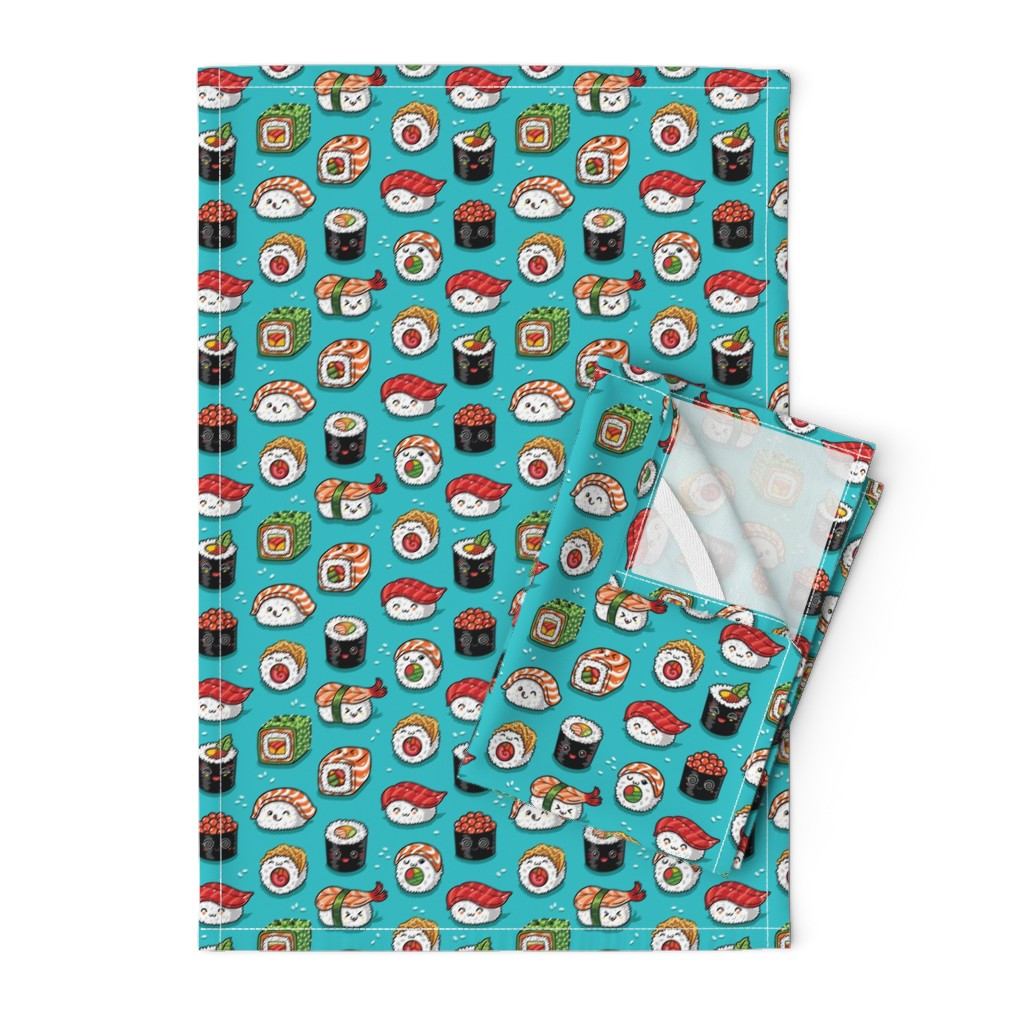Orpington Tea Towels featuring Cute kawaii sushi small size by penguinhouse
