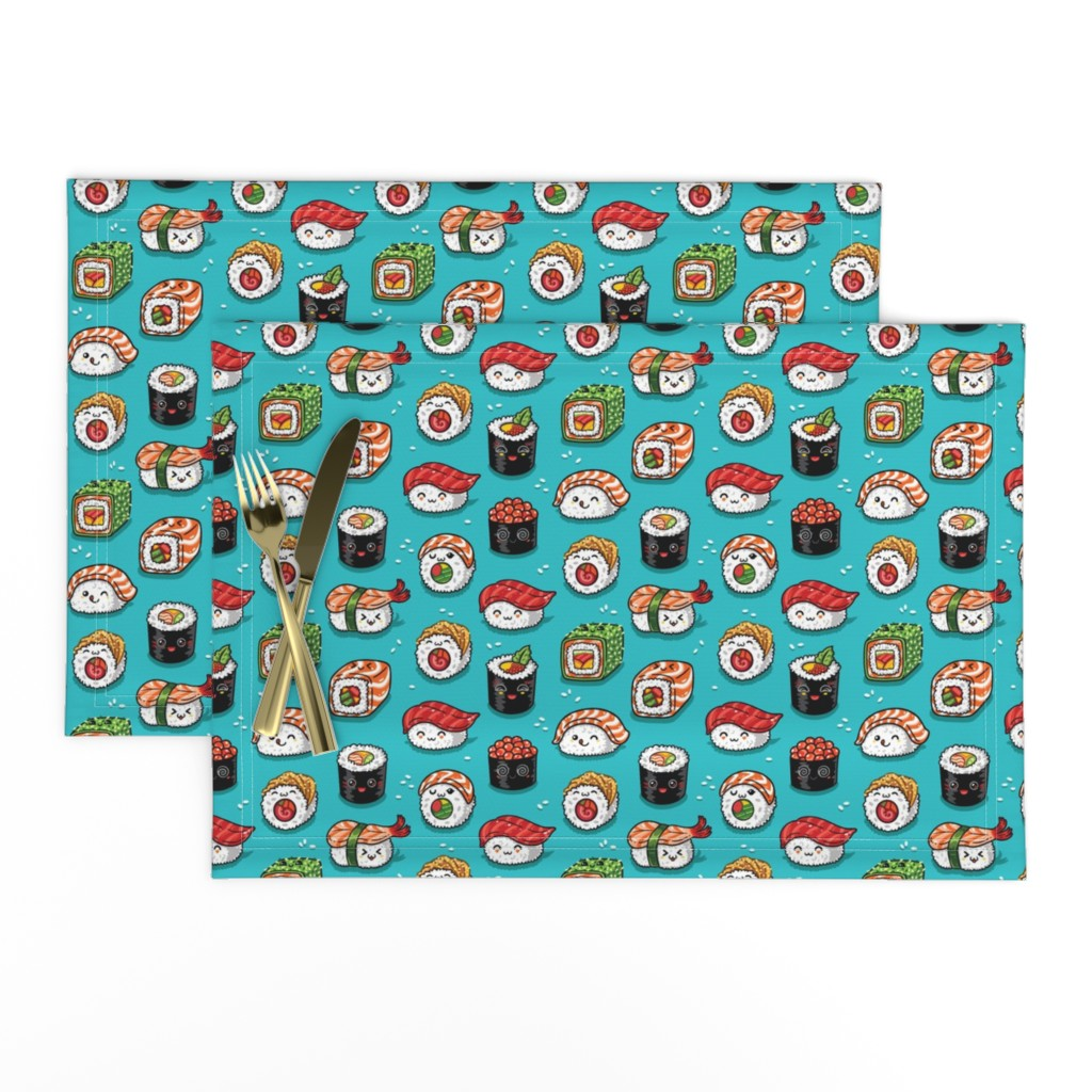 Lamona Cloth Placemats featuring Cute kawaii sushi small size by penguinhouse