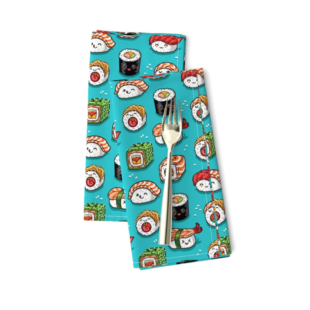 Amarela Dinner Napkins featuring Cute kawaii sushi small size by penguinhouse