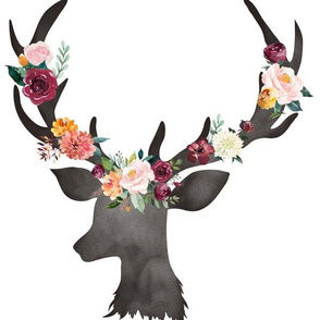 "12"" Autumn Watercolor Deer Floral"