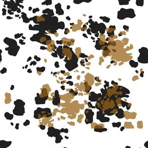 Brown, Black and White Cowhide Spots, Dairy Animals, Farm Animal Print, Farmhouse Style
