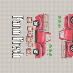 Old Red Truck  Farm Fresh Tea Towel