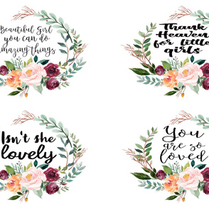 "54"" Watercolor Floral Wreath Quotes"