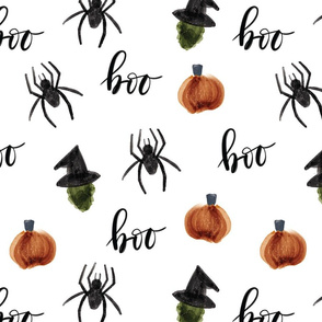 2015 version // watercolor halloween // pumpkins spiders witches boo