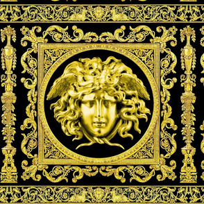 3 baroque rococo black gold flowers floral leaves leaf ivy vines acanthus medusa vases goats horn of plenty hoof Victorian gorgons Greek Greece mythology filigree swirls scrolls Cornucopia columns Versace inspired