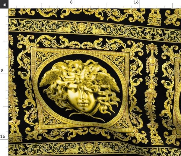Fabric by the Yard 3 baroque rococo black gold flowers floral leaves leaf  ivy vines acanthus Versace inspired medusa vases goats horn of plenty hoof