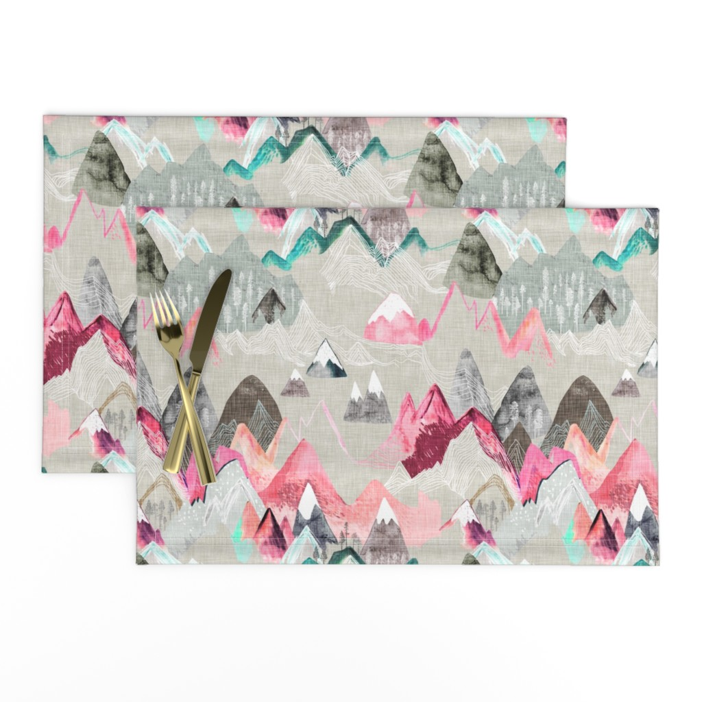 Lamona Cloth Placemats featuring Call of the Mountains (pink) MED by nouveau_bohemian