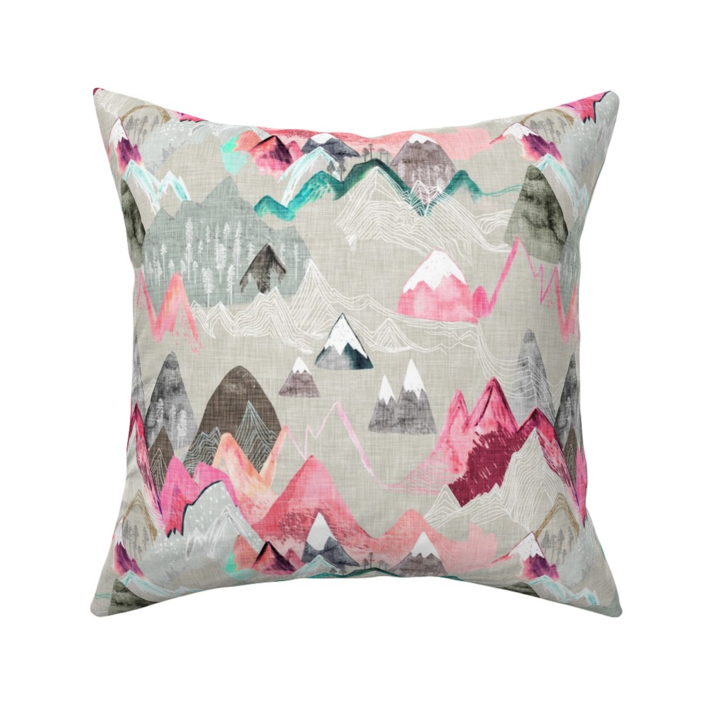 Catalan Throw Pillow featuring Call of the Mountains (pink) MED by nouveau_bohemian
