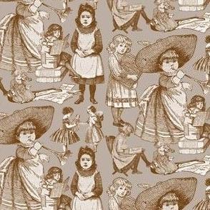 Victorian Books Brown Toile Fabric Design