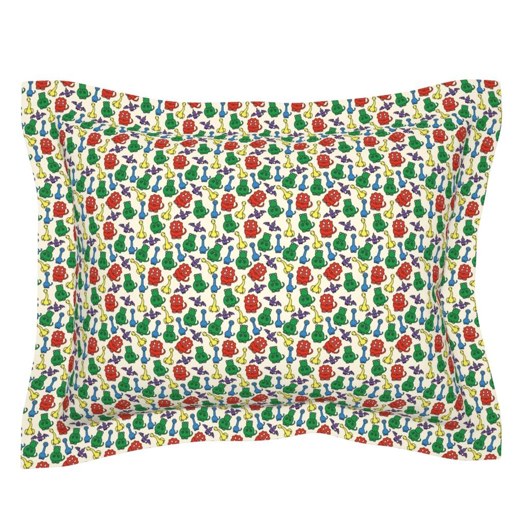 Sebright Pillow Sham featuring Friendly Dinosaurs - 4in (primary) by studiofibonacci