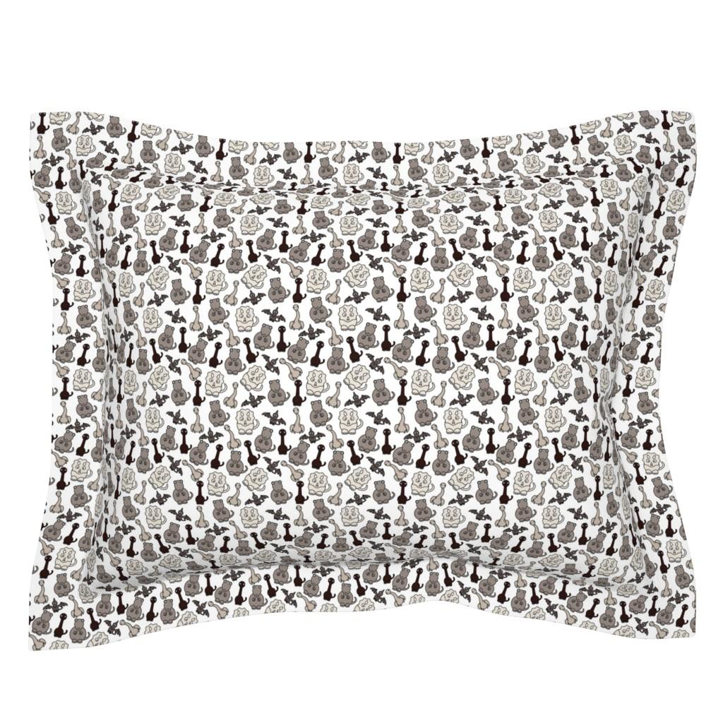 Sebright Pillow Sham featuring Friendly Dinosaurs - 4in (brown) by studiofibonacci