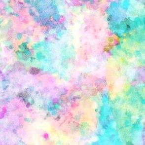 Abstract Rainbow Soft Watercolour Paint & Splatter
