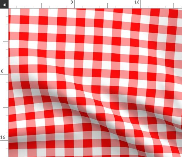 Fabric By The Yard One Inch Red And White Gingham Check