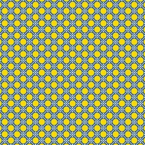 Talavera - Half Inch White Grid on Blue with Large Yellow Dots